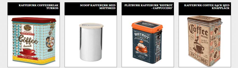Nytillverkade kaffeburkar i plåt